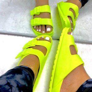 !!RESTOCKED!! Comfy Buckle Sandals in Neon Yellow